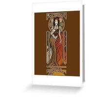 Steampunk Nouveau- Brown Greeting Card