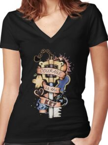Courage Is The Key Women's Fitted V-Neck T-Shirt