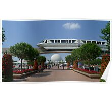 Spaceship Earth & Monorail - Epcot Poster