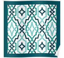 classic lattice turquoise teals Poster