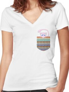 Pokemon Mew in a Pocket Women's Fitted V-Neck T-Shirt