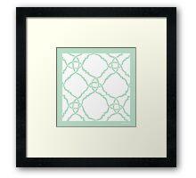 classic modern lattice pale mint green Framed Print