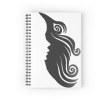 Woman's Face and Hair - Negative Space Art Spiral Notebook