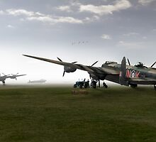 Lancasters on dispersal, colour version by Gary Eason + Flight Artworks