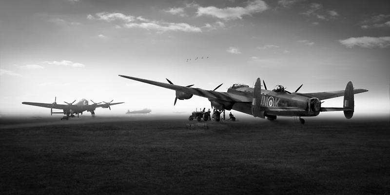 Lancasters on dispersal, black and white version by Gary Eason + Flight Artworks