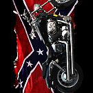 Confederate Rebel Flag and Motorcycle by Val  Brackenridge