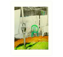 wash day with green and white plastic chairs Art Print