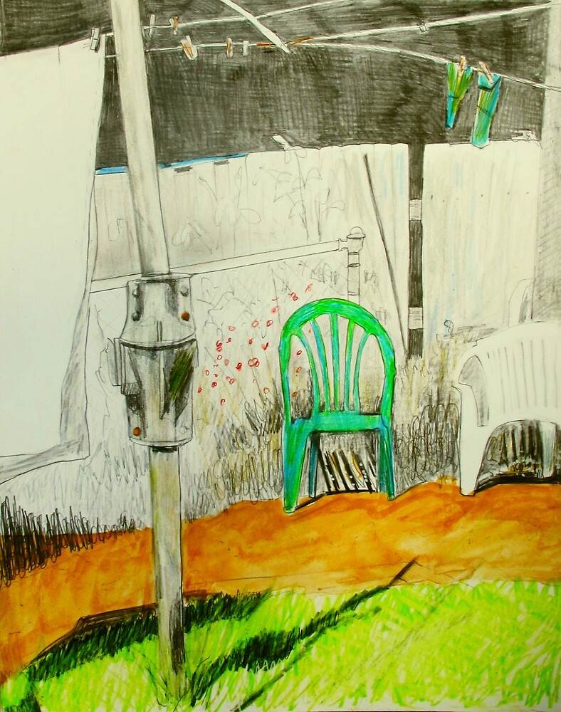 wash day with green and white plastic chairs by donnamalone
