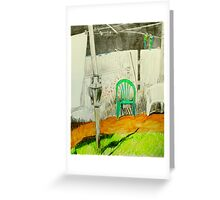 wash day with green and white plastic chairs Greeting Card
