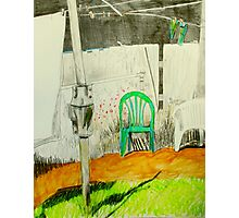 wash day with green and white plastic chairs Photographic Print