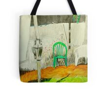 wash day with green and white plastic chairs Tote Bag