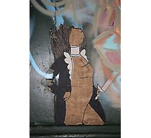 "Modern Graffiti - Paste Up Paper  ""Joan of Arc"" Photographic Print"