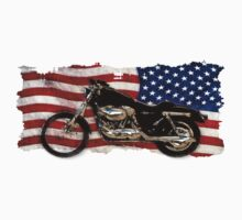 Patriotic US Flag, Motorcycle, Motorbike by Val  Brackenridge