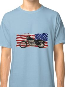 Patriotic US Flag, Motorcycle, Motorbike Classic T-Shirt