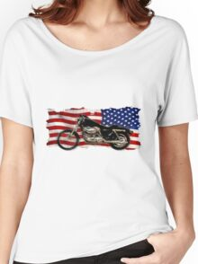 Patriotic US Flag, Motorcycle, Motorbike Women's Relaxed Fit T-Shirt
