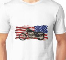 Patriotic US Flag, Motorcycle, Motorbike Unisex T-Shirt