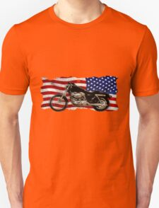 Patriotic US Flag, Motorcycle, Motorbike Unisex T-Shirt