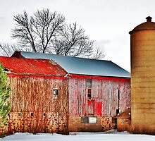 Two Barns And Silo by EBArt