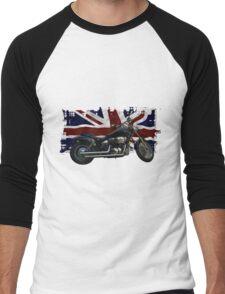 Patriotic Union Jack, UK Union Flag, Motorcycle Men's Baseball ¾ T-Shirt