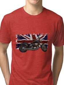 Patriotic Union Jack, UK Union Flag, Motorcycle Tri-blend T-Shirt