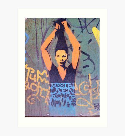 """Awesome Stencil Graffiti - """"Hair There"""" Art Print"""