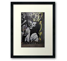 "Banksy Style Stencil Graffiti -  ""Happy"" Framed Print"
