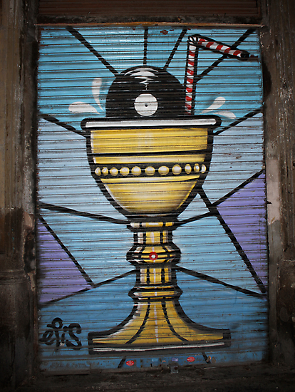 "Street Art Graffiti From Barcelona - ""Holy Grail"" by Punk60"
