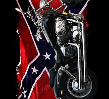 Cool Confederate Rebel Flag and Motorcycle by Val  Brackenridge