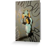 "Banksy Style Stencil Graffiti -  ""World Games"" Greeting Card"