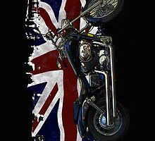 Patriotic Union Jack, UK Union Flag, Motorcycle by Val  Brackenridge