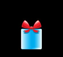 Blue gift or present with a red bow by jazzydevil