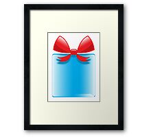 Blue gift or present with a red bow Framed Print