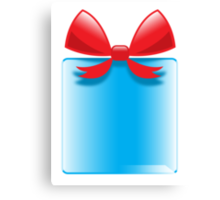 Blue gift or present with a red bow Canvas Print