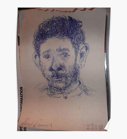 Self-portrait -(270313)- A5 Sketchbook/Blue biro pen Poster