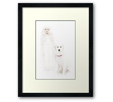 Winter Girl and Her Dog Framed Print