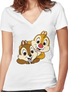 Funny Chip and Dale Women's Fitted V-Neck T-Shirt
