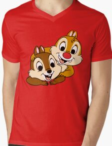Funny Chip and Dale Mens V-Neck T-Shirt