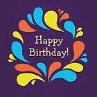 Funky Colorful Swirls Happy Birthday  by Boriana Giormova