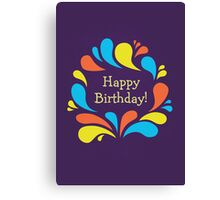 Funky Colorful Swirls Happy Birthday  Canvas Print