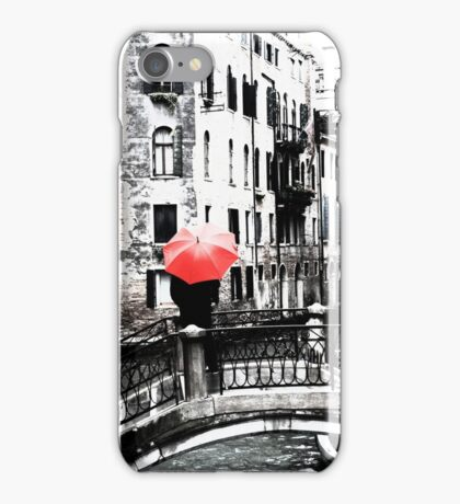 Red Umbrella in Venice iPhone Case/Skin