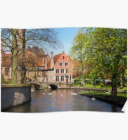 Minnewater in Brugge, Belgium Poster