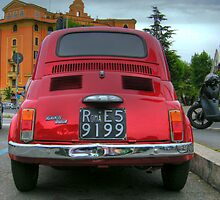 Red Fiat 500 by wildrain
