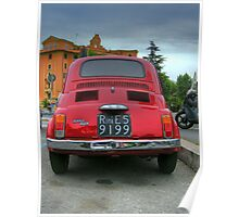 Red Fiat 500 Poster