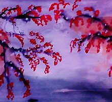 Chinese painting , Blossoms over water, watercolor by Anna  Lewis