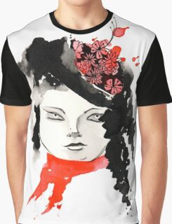 Winter Watercolor Girl Graphic T-Shirt