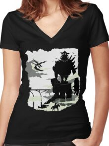 Silhouette of the Colossus white Women's Fitted V-Neck T-Shirt