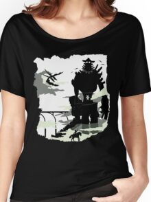 Silhouette of the Colossus white Women's Relaxed Fit T-Shirt