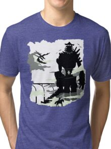 Silhouette of the Colossus white Tri-blend T-Shirt