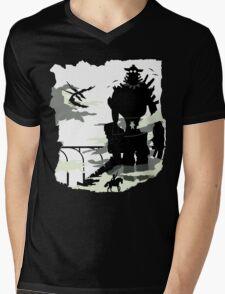 Silhouette of the Colossus white Mens V-Neck T-Shirt