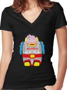 Atomic Krang Women's Fitted V-Neck T-Shirt